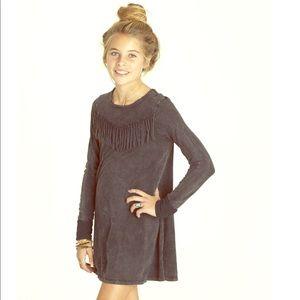 Girls Mineral Wash Fringe T Shirt Dress